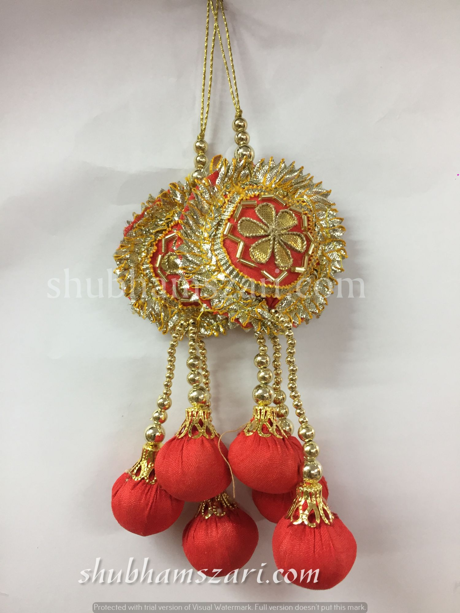 Shubhams red colour round 6 patti buty Latkan For embellish saris Blouse lehengas and kurtie