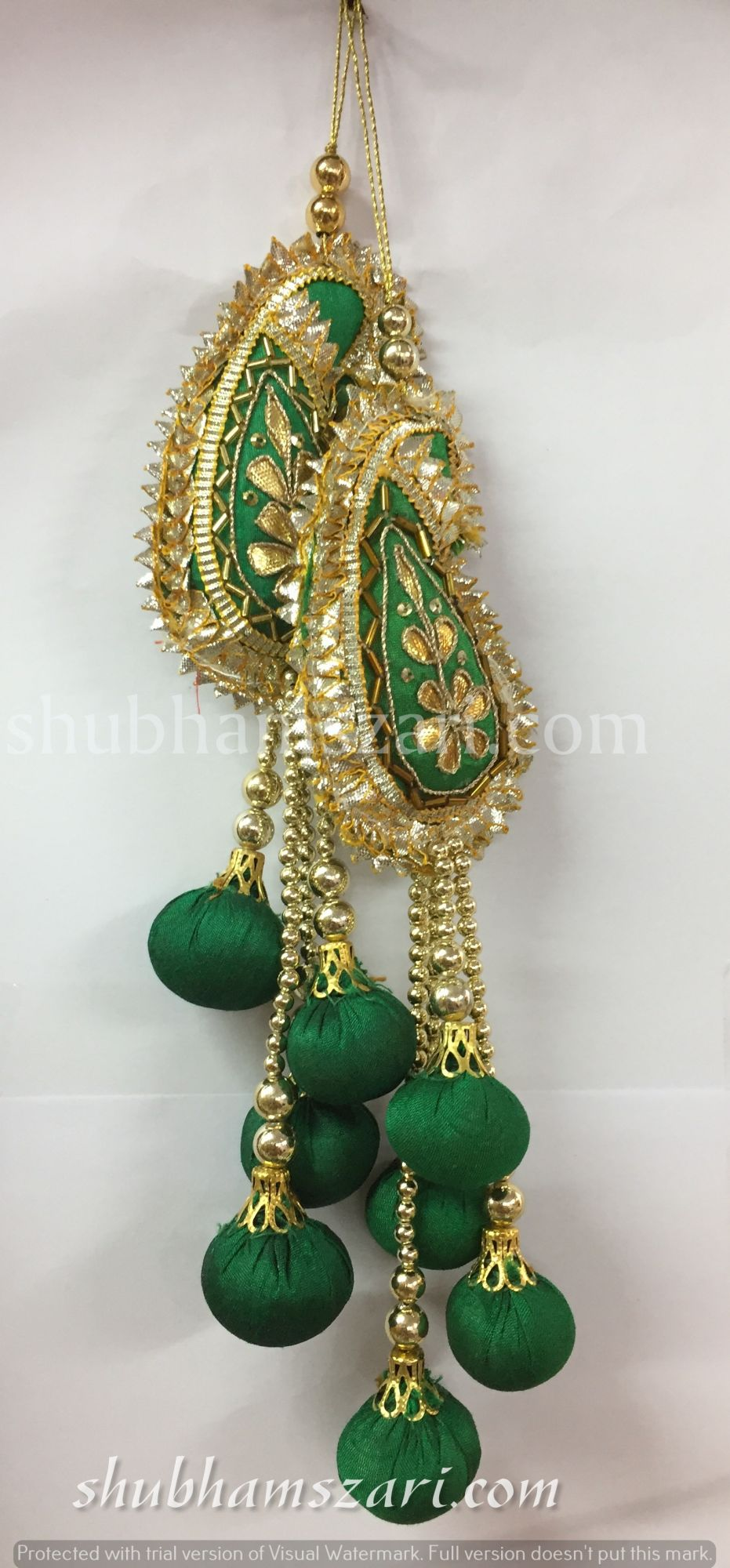 Shubhams green colour kary(mango) shape gota patti work Latkan For embellish saris Blouse lehengas and kurtie