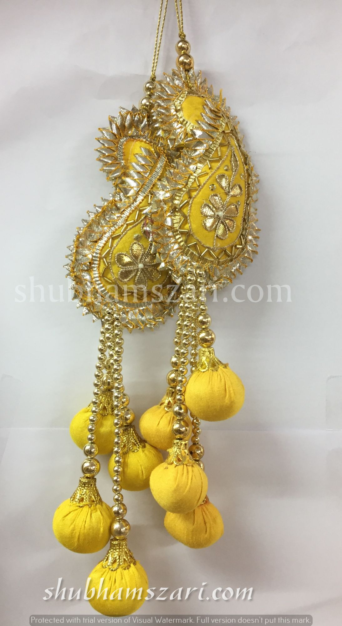 Shubhams yellow colour kary(mango) shape gota patti work Latkan For embellish saris Blouse lehengas and kurtie