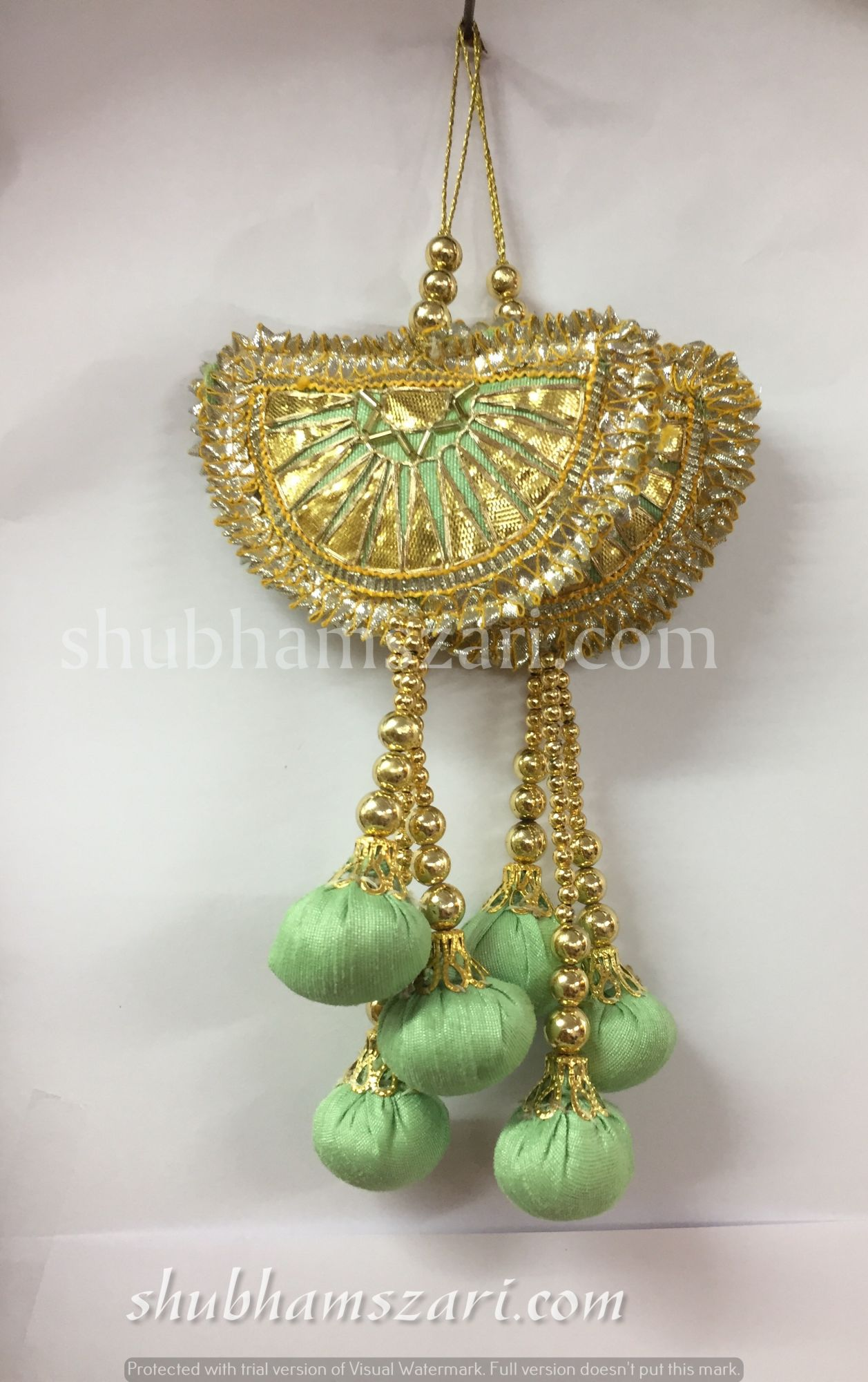 Shubhams pista colour half chand shape gota patti work