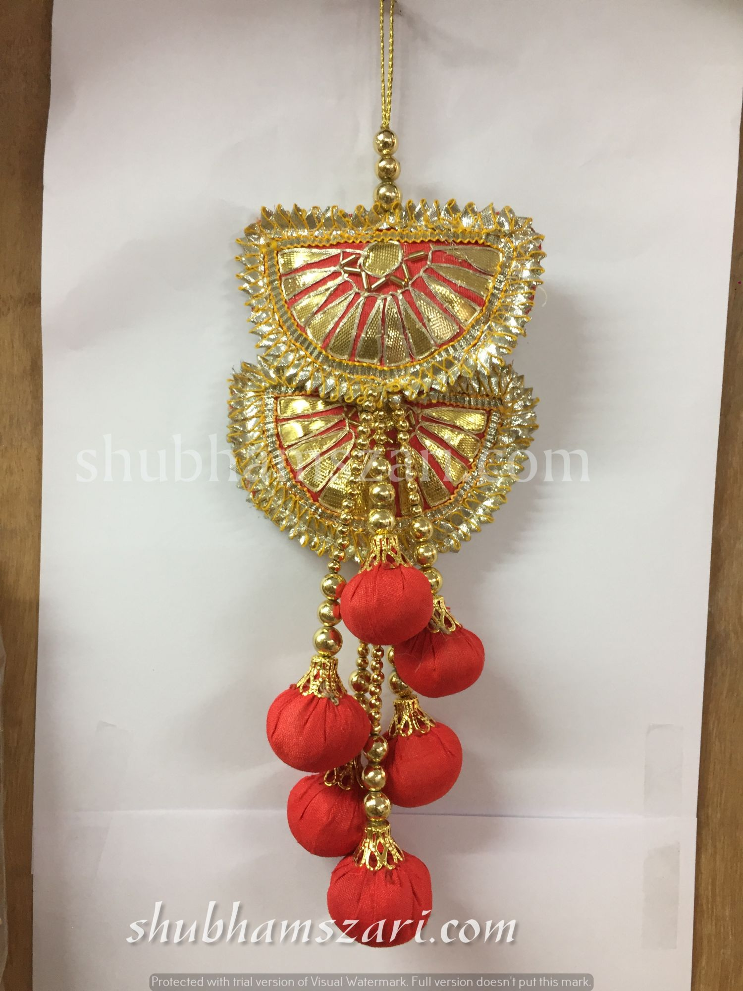 Shubhams red colour half chand shape gota patti work