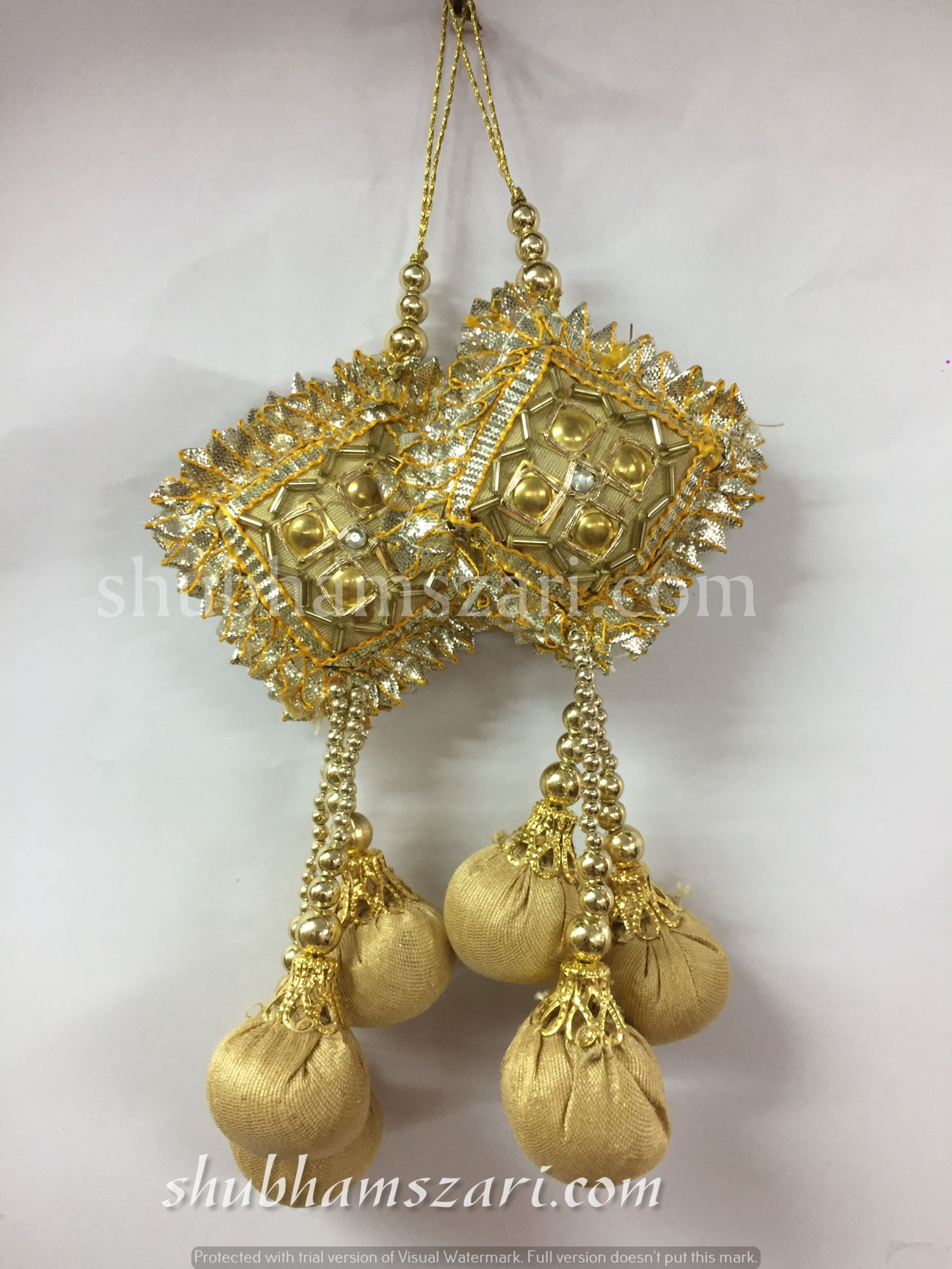 Shubhams gold colour square danka shape gota patti work