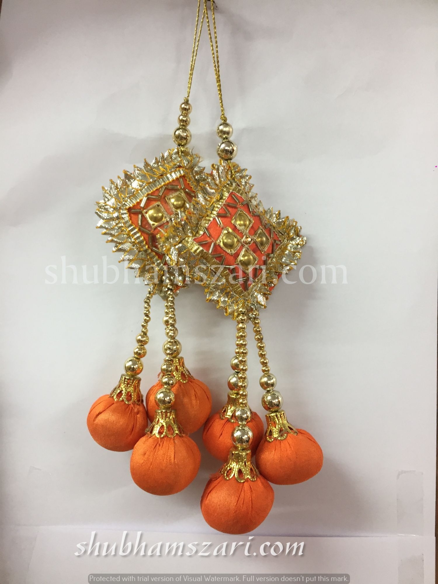 Shubhams orange colour square danka shape gota patti work
