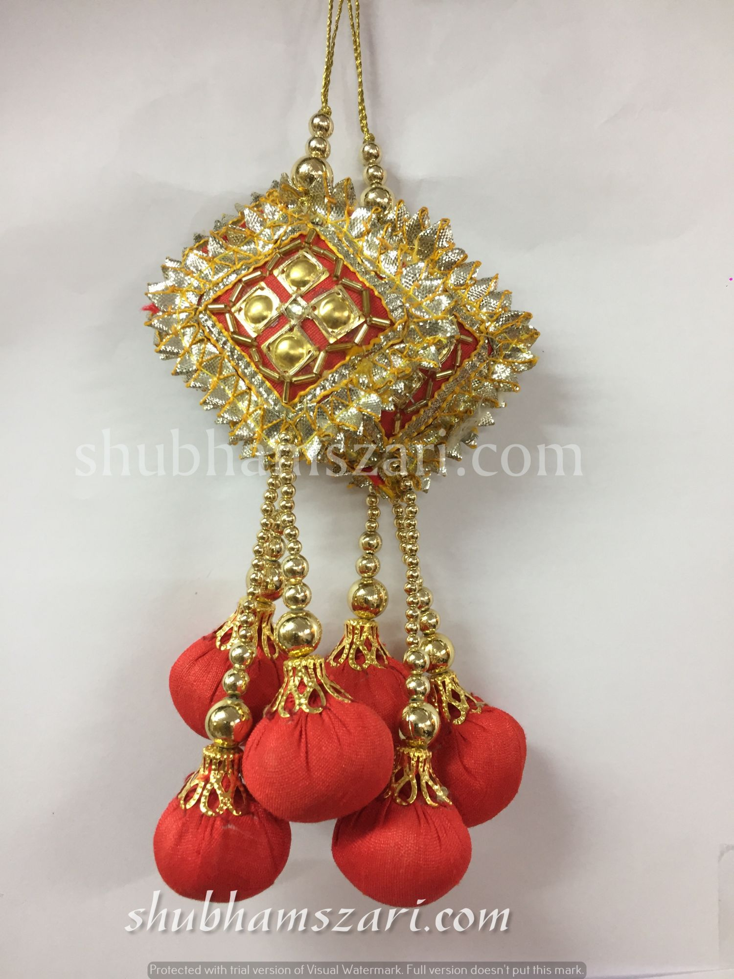 Shubhams red colour square danka shape gota patti work