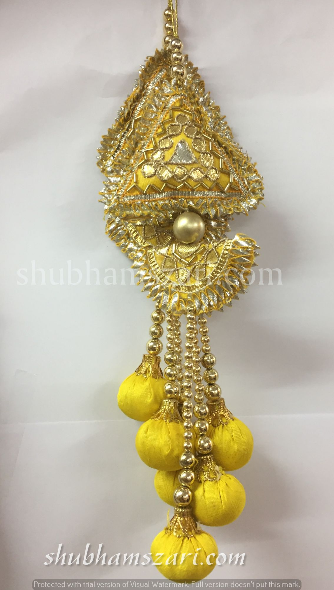Shubhams long yellow colour triangle and chand shape gota patti work