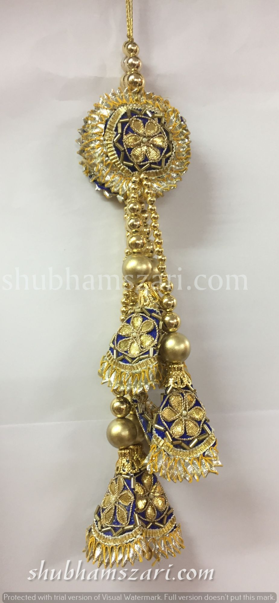 Shubhams long blue colour round and triangle shape gota patti work