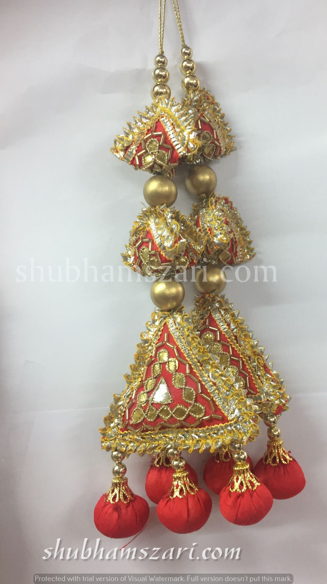 Shubhams long red colour  2samosa and triangle shape gota patti work