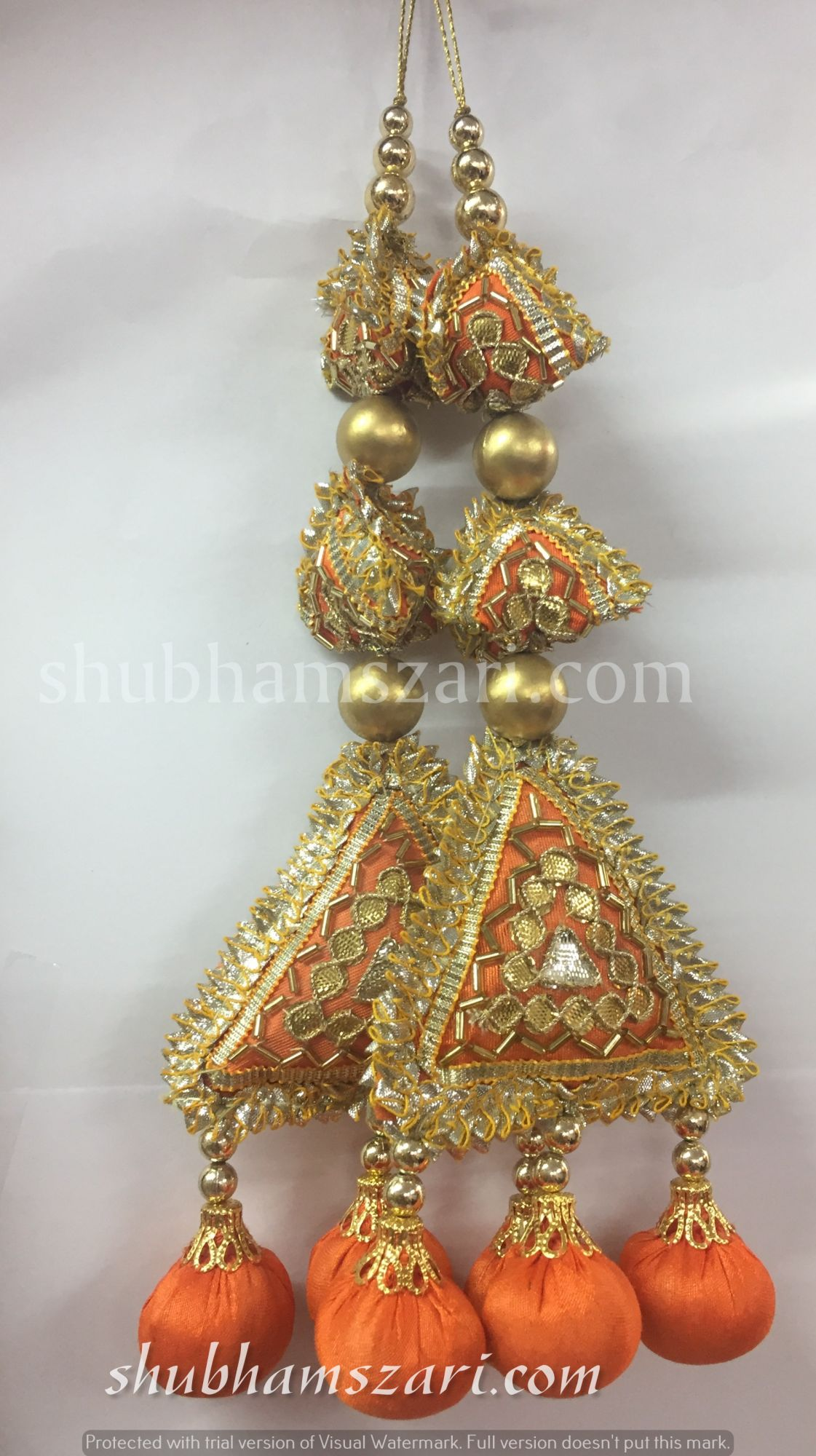 Shubhams long orange colour  2samosa and triangle shape gota patti work