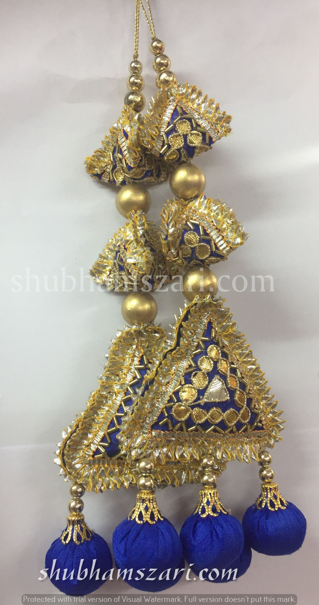 Shubhams long blue colour  2samosa and triangle shape gota patti work