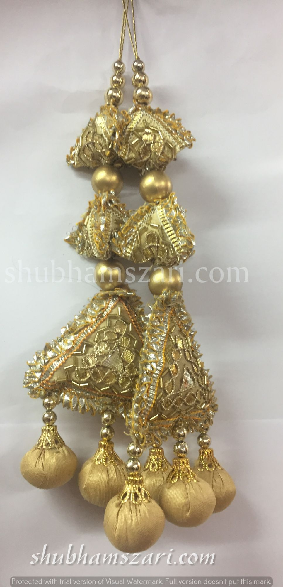 Shubhams long gold colour  2samosa and triangle shape gota patti work