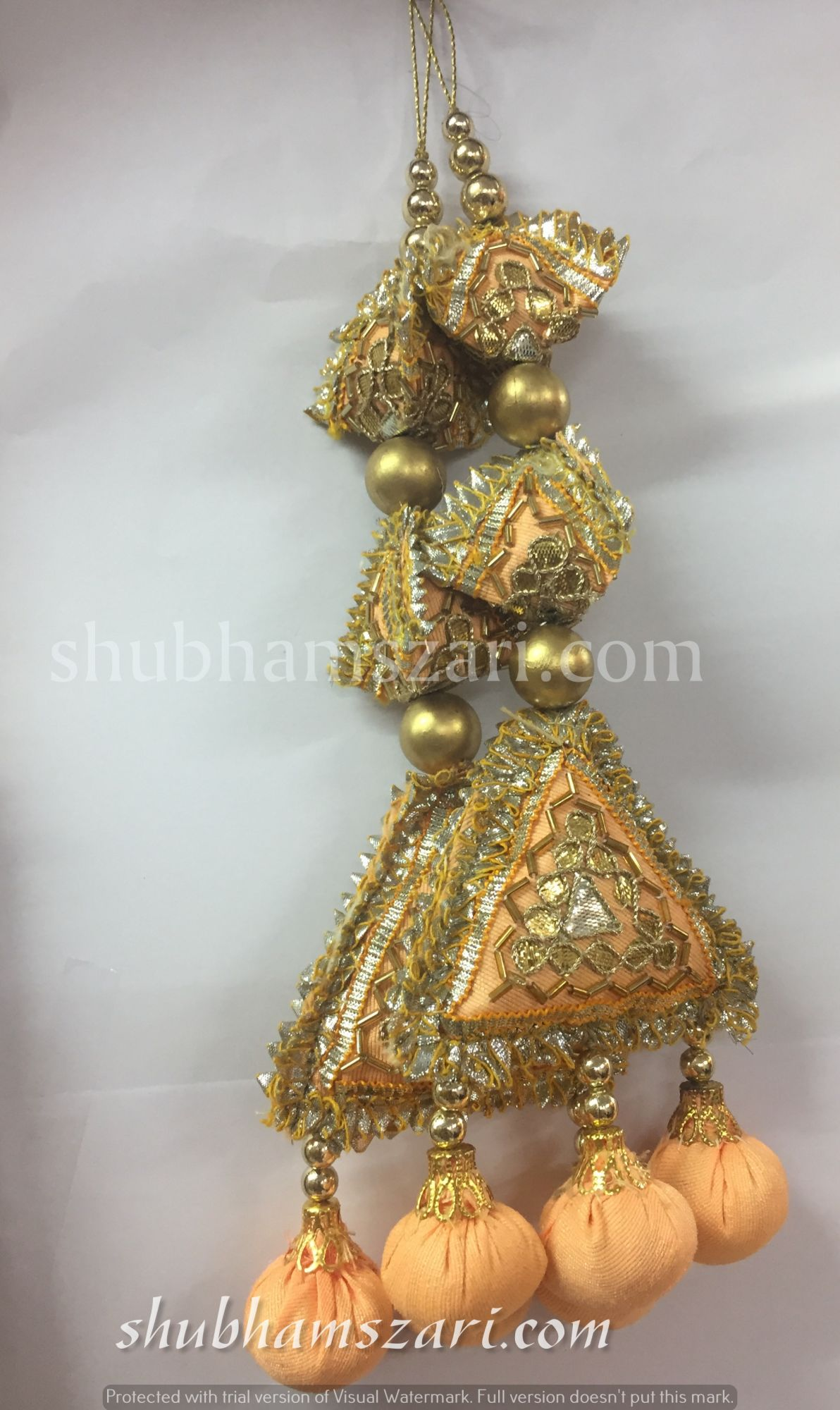 Shubhams long peach colour  2samosa and triangle shape gota patti work