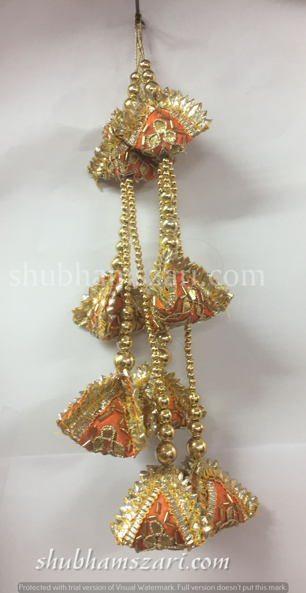 Shubhams long orange colour full samosa shape gota patti work