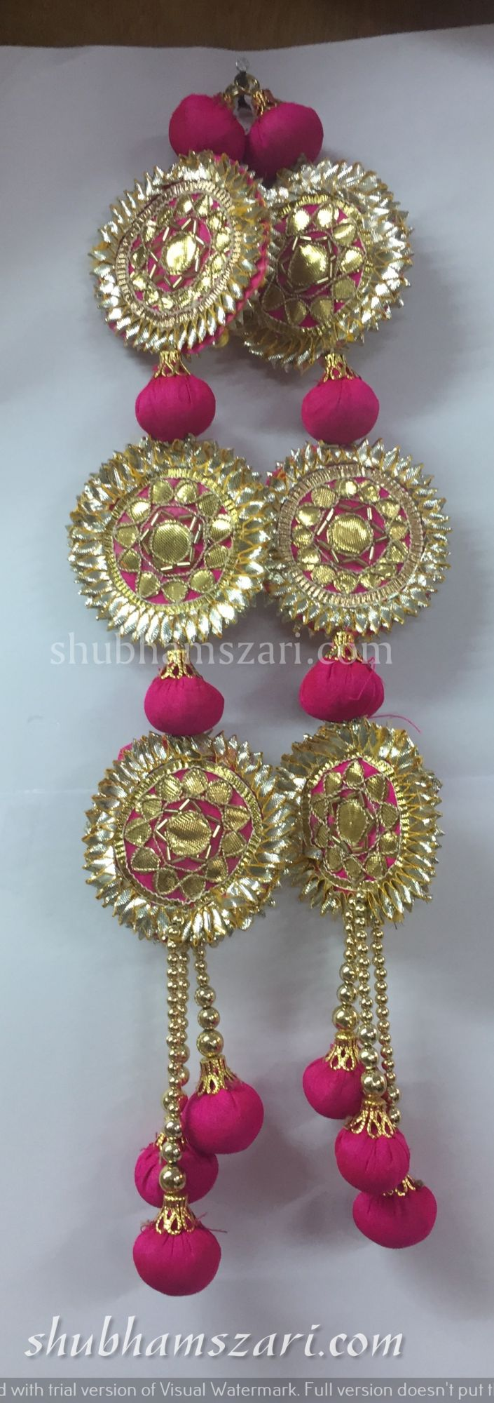 Shubhams long rani colour full round sikka shape gota patti work