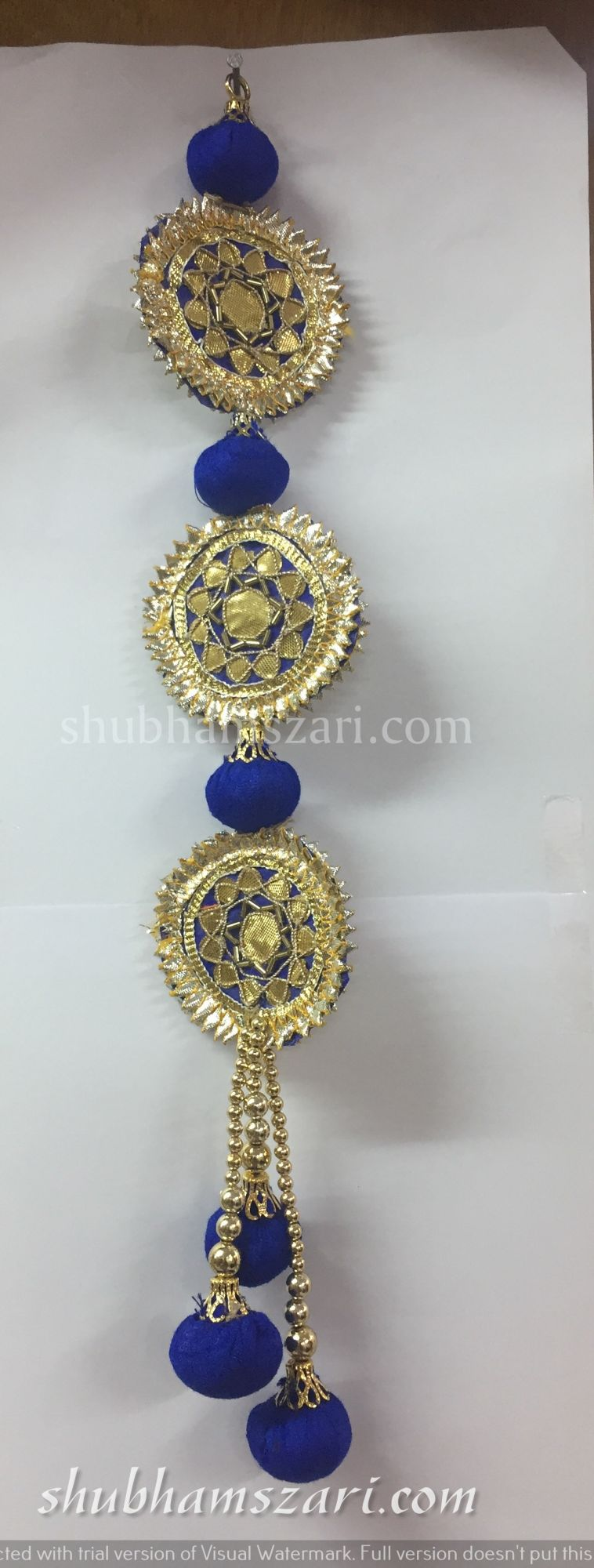Shubhams long blue colour full round sikka shape gota patti work