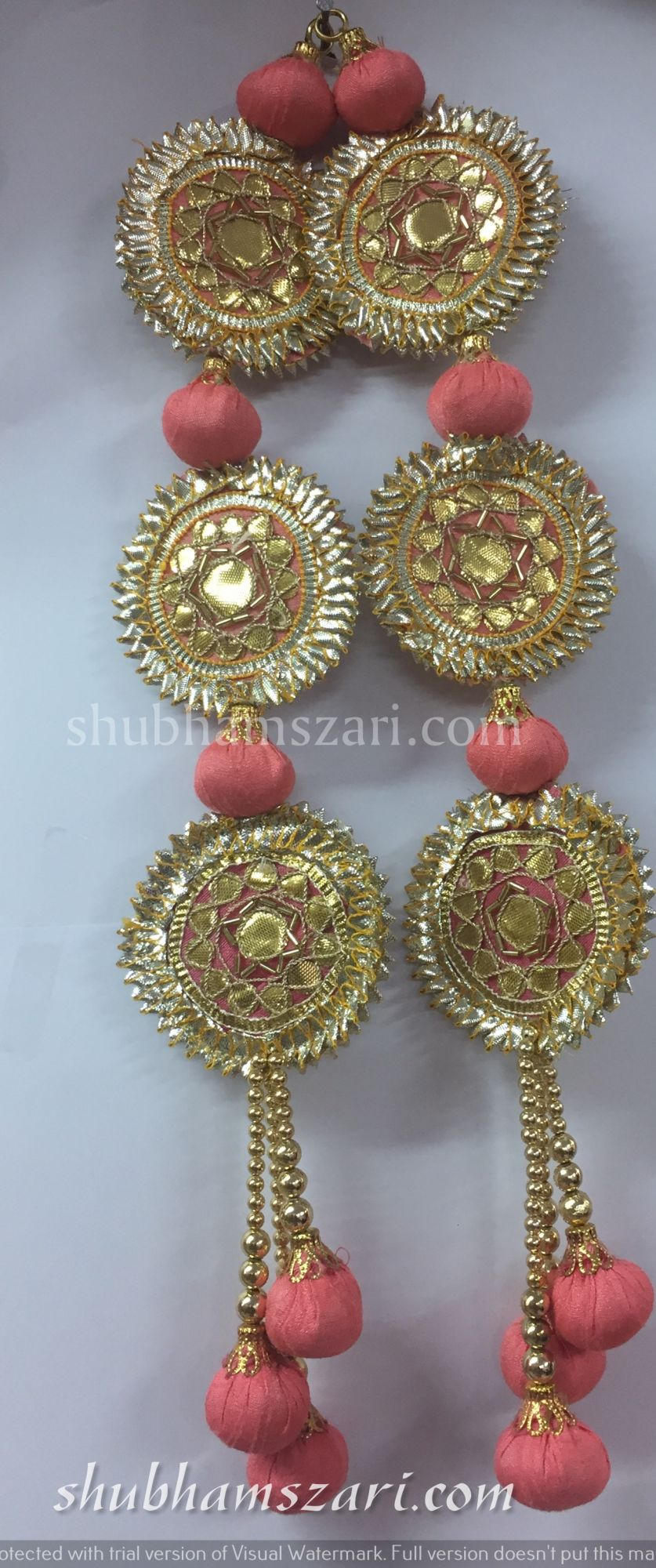 Shubhams long gajri colour full round sikka shape gota patti work
