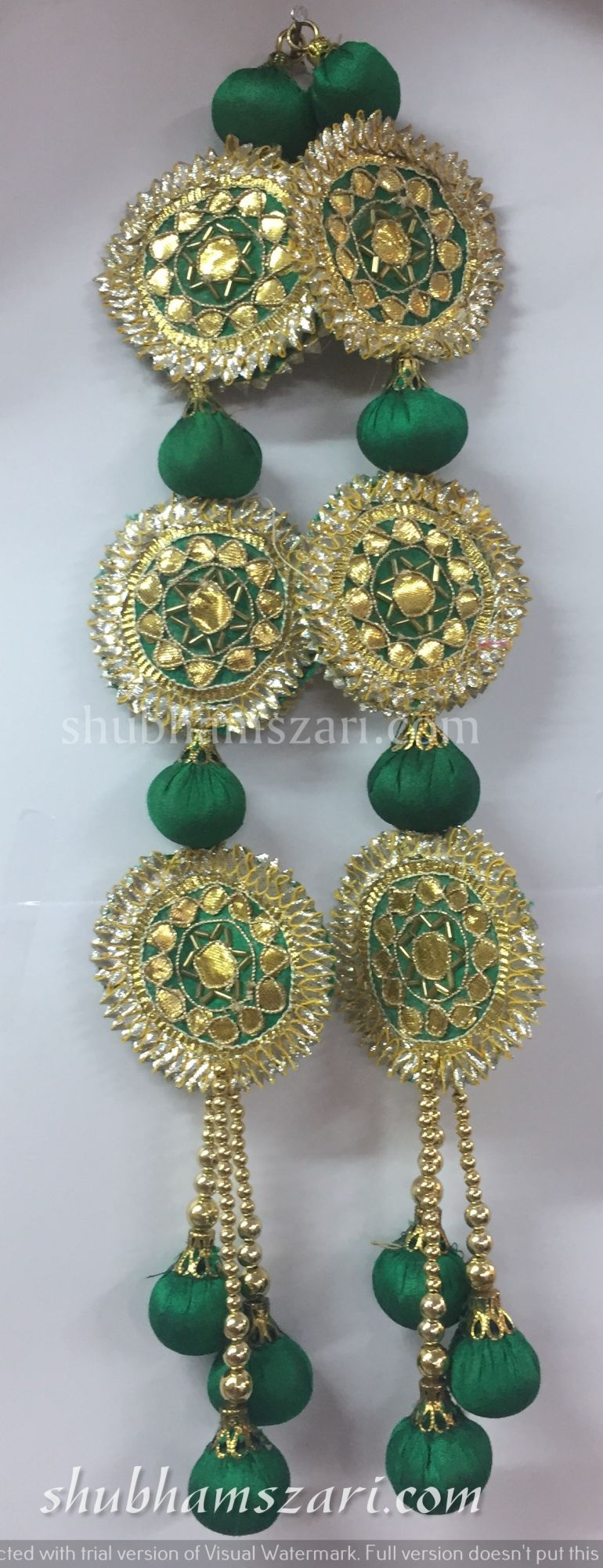 Shubhams long green colour full round sikka shape gota patti work