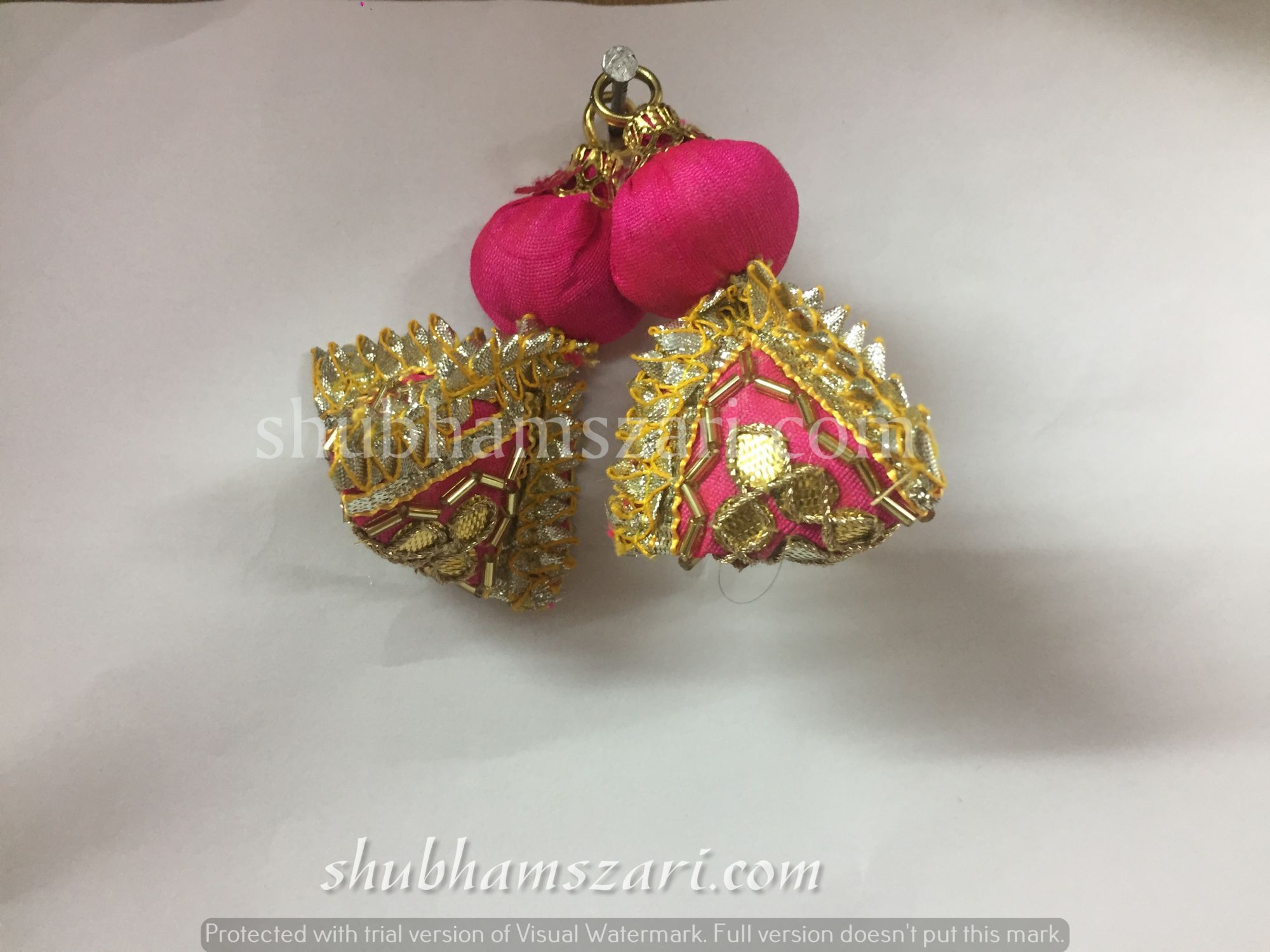 Shubhams small rani colour samosa shape gotta patti work latkan