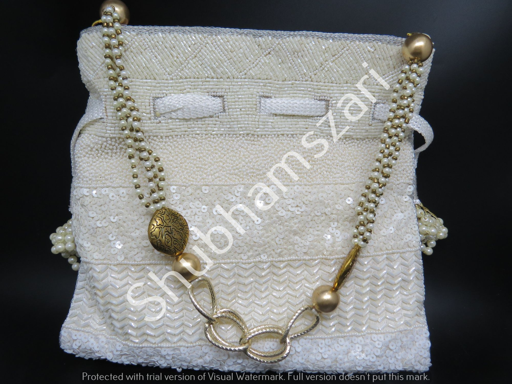 Hand Work White Pearl Katdana potli , handcrafted, handmade, designer luxury handbag, wedding clutch, party clutch