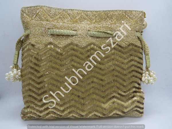 Glamorous Gold sequin bag heavily embellished potli bag, handmade, handcrafted, designer handbag, party wear
