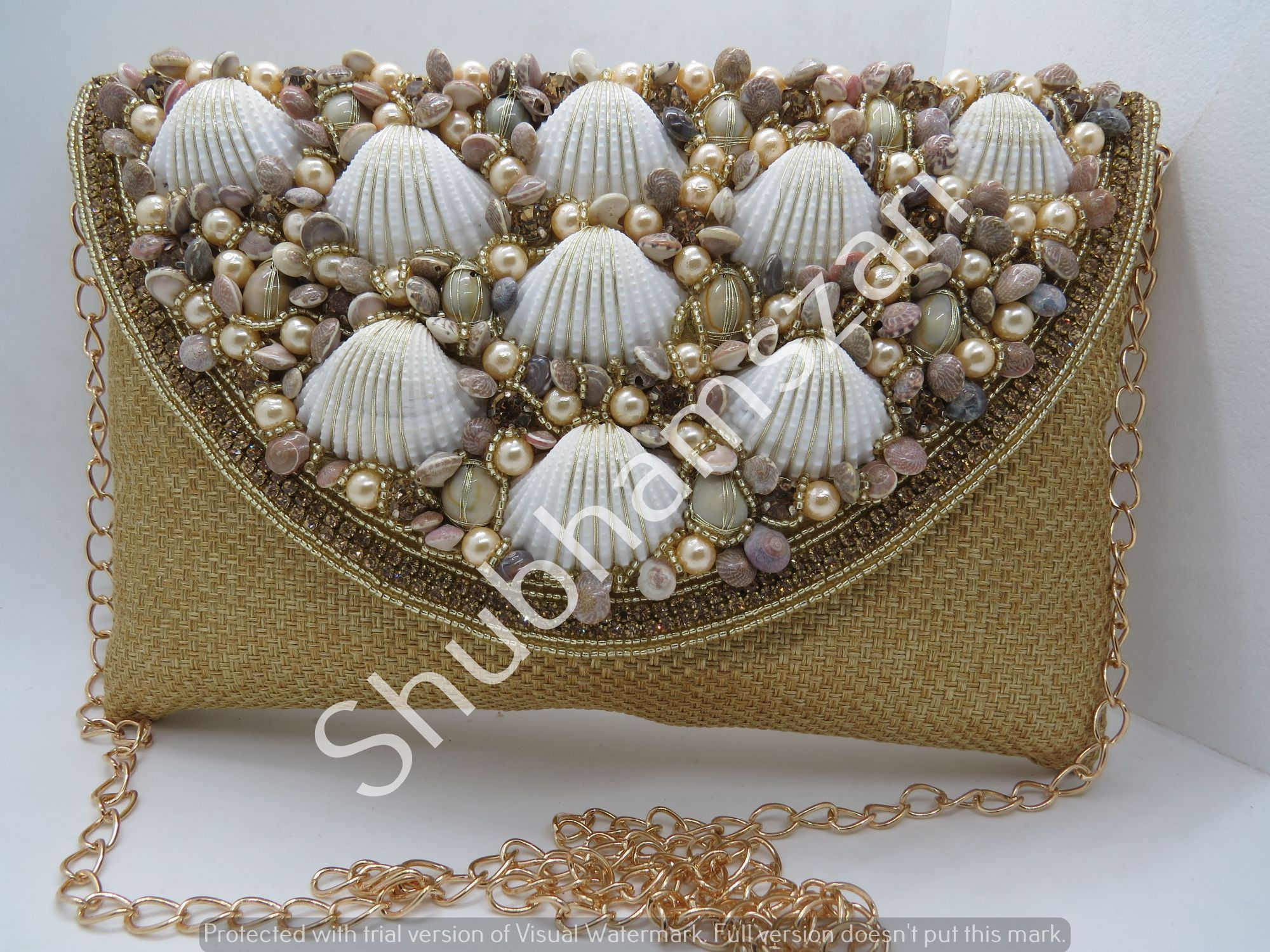 Off White hand embroidery,Handmade shell Clutch, party wedding handbag clutch Sling