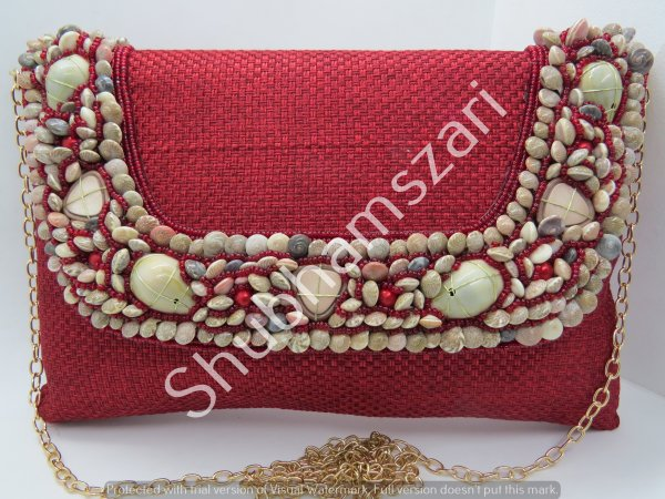 Red hand Made,Handmade,Sea Treasure shell Clutch, party wedding handbag clutch Sling