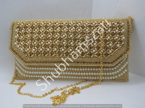 Fully embellished Gold pearls, Beads handbag, handwork clutch, handmade, handcrafted, designer handbag,With Sling