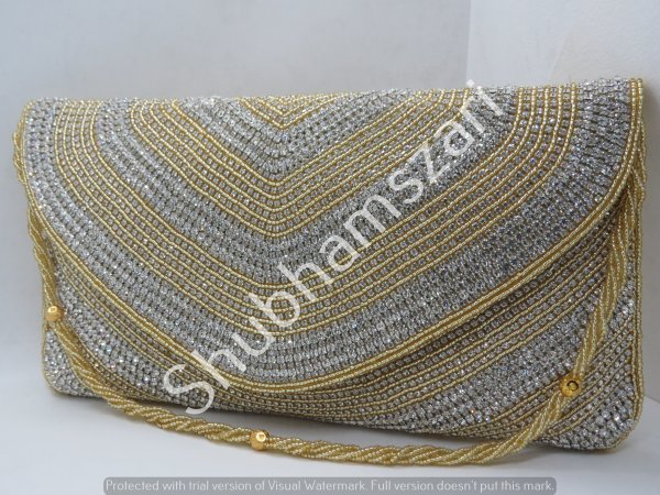 Fully embellished Gold Silver Beads handbag, handwork clutch, handmade, handcrafted, designer handbag,With Sling