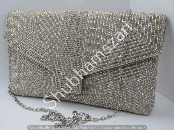 Vintage Silver Evening Bag Clutch Handbag, Silvet taxture Front Accent, Silver Metallic Mid Century Purse