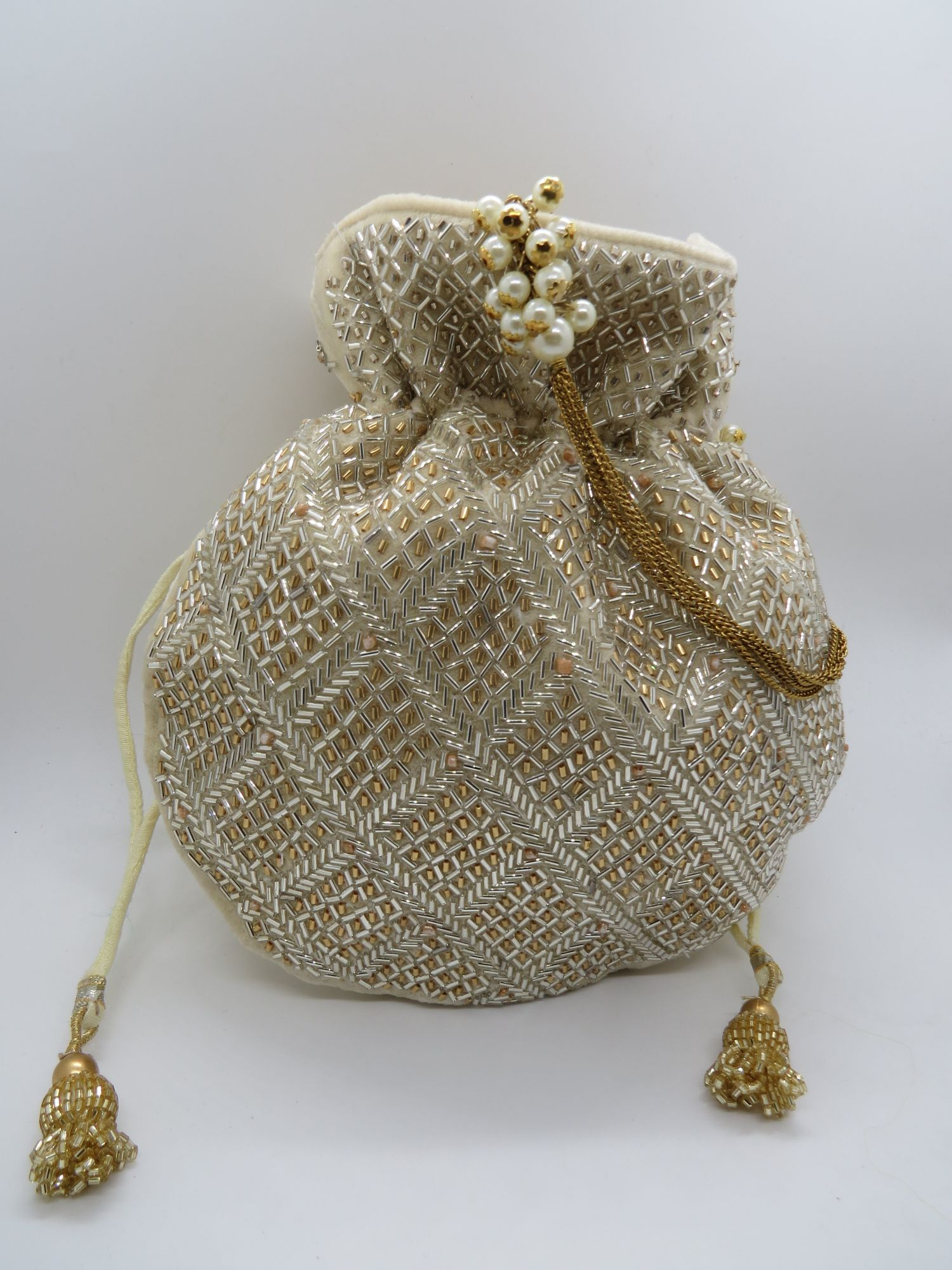 Wedding Potli, Bridal Bag, Couture Purse, Wedding Bag with Bead Katdana Work, Bridemaids Gift, Indian Potli Bag