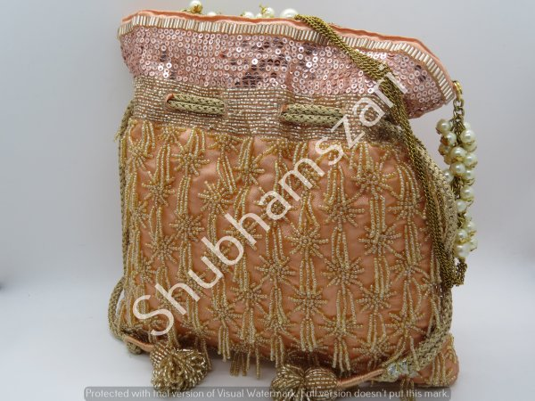 Peach Silk, Katdana Beads, potli bag, tassels, handcrafted, handmade, designer luxury handbag, wedding potli, party bag,