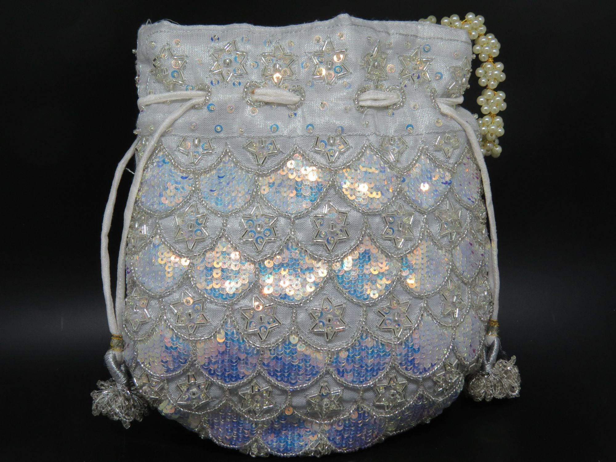 Silver embellished potli , handcrafted, handmade, designer luxury handbag, wedding Potli bag, party bag,