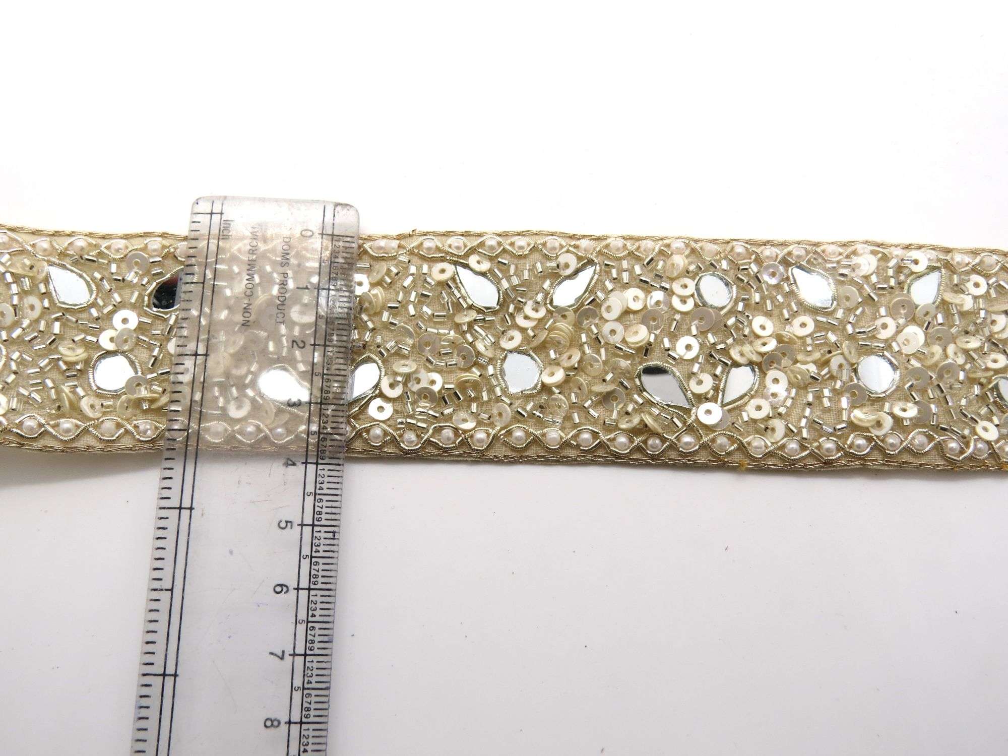 beige gold bead lace fabric trim | 4cm wide sewing embellish edging lace border | indian mirror work pearl bead bridal lace trim by the yard