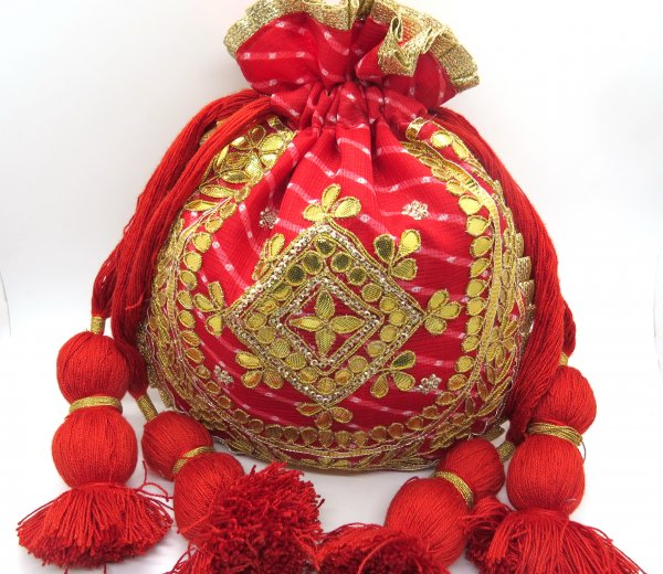 Lehriya Bandhej Fabric Decorative Golden Gota Patti Hand Embroidered Work Potli Bags Tradtional Indian Wedding Giveaways Handbags For Women