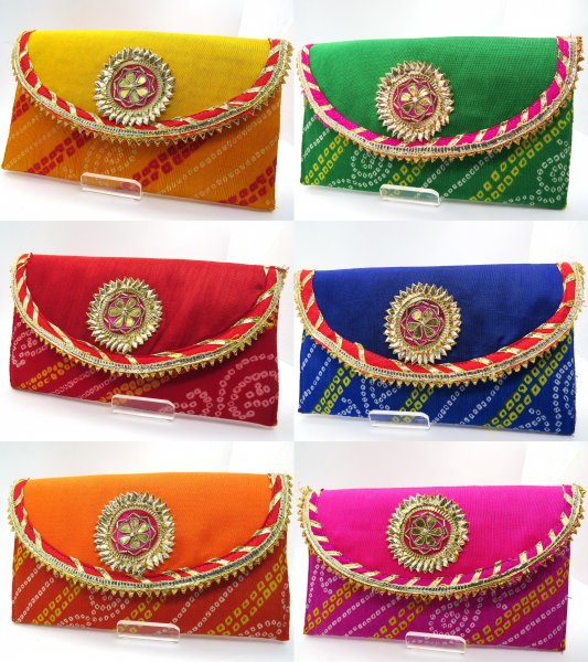 Pack Of 1/10/25/50 Bandhej Multi Color Envelopes Hand Crafted with Gota, Shagun Gift Envelopes for Weddings, Birthdays, Baby Shower, Anniversary