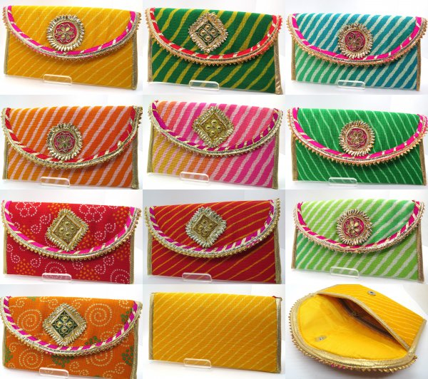 Pack Of 1/10/25/50 Lehriya bandhej Multi Color Envelopes Hand Crafted with Gota, Shagun Gift Envelopes for Weddings, Birthdays, Baby Shower, Anniversary