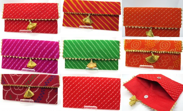 Pack Of 10/25/50/100 Lehriya Bandhej Multi Color Envelopes Hand Crafted with Gota, Shagun Gift Envelopes for Weddings, Birthdays, Baby Shower, Anniversary