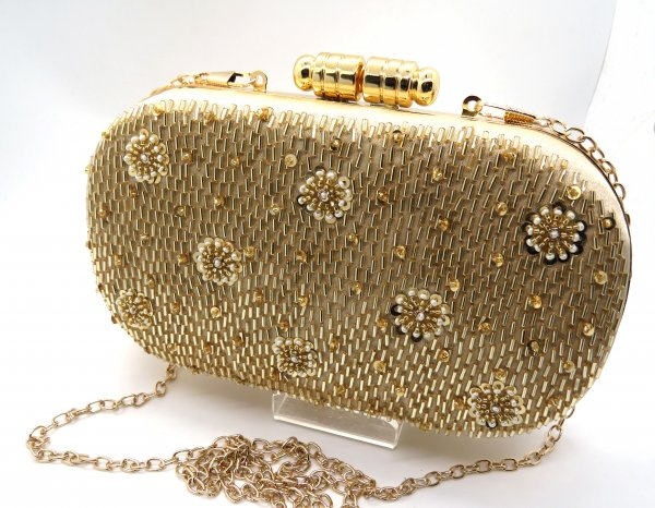 golden tubelights sequence pearl bead clutch evening purse | evening clutch for indian wedding | gold clutch evening bag | bridal clutch bag