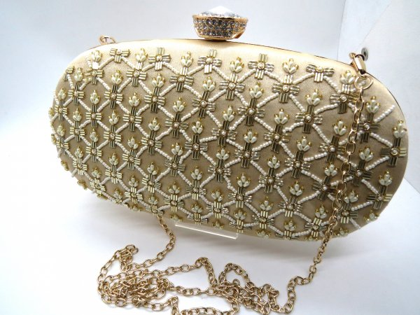 Indian designer handmade Bead Pearl kat dana metal clutch woman evening purse with metal sling