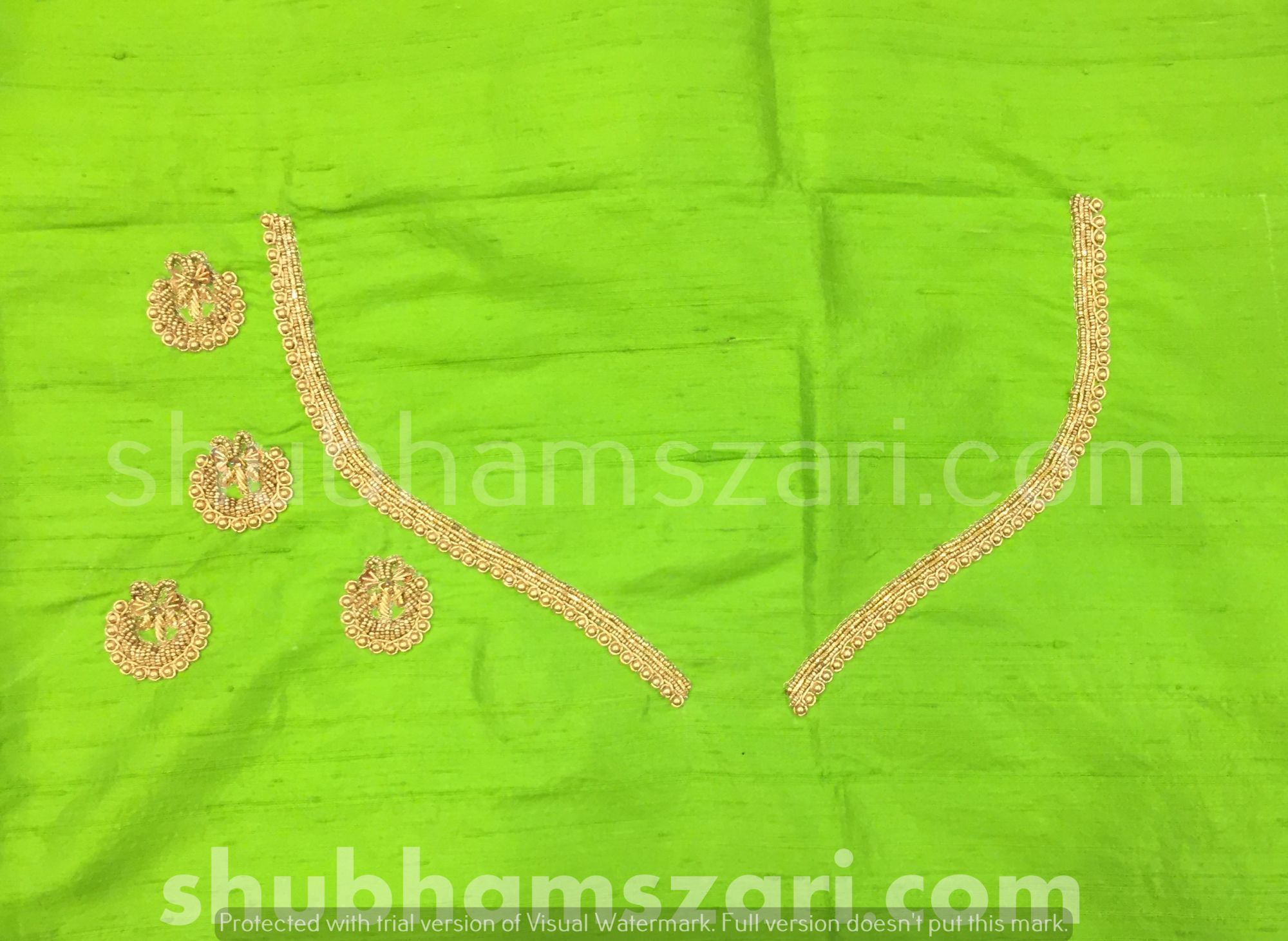 Parrot Green Beautiful Hand zardozi Work /Tikki work Thread Jari And Hevy Handwork/ Sari Blouse /Saree Top/ For Women