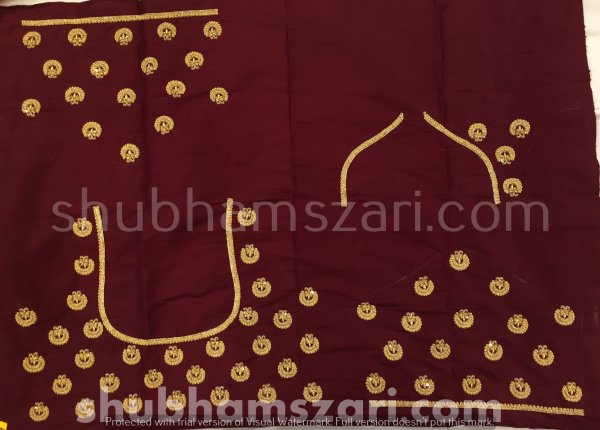 Mehroon Beautiful Hand zardozi Work /Tikki work Thread Jari And Hevy Handwork/ Sari Blouse /Saree Top/ For Women
