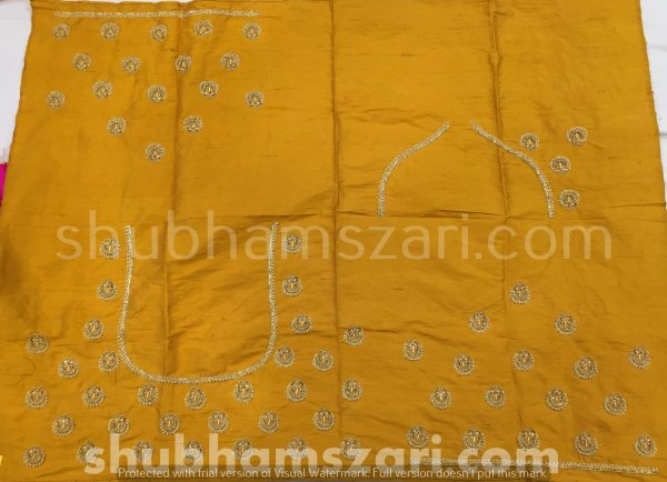 Mustard Beautiful Hand zardozi Work /Tikki work Thread Jari And Hevy Handwork/ Sari Blouse /Saree Top/ For Women