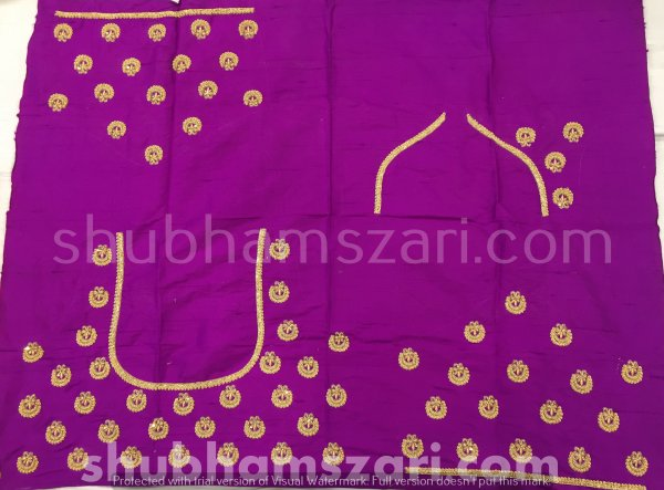 Purple Beautiful Hand zardozi Work /Tikki work Thread Jari And Hevy Handwork/ Sari Blouse /Saree Top/ For Women