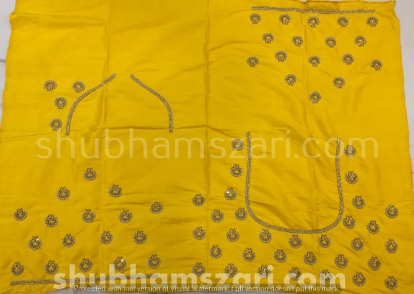 Yellow Beautiful Hand zardozi Work /Tikki work Thread Jari And Hevy Handwork/ Sari Blouse /Saree Top/ For Women