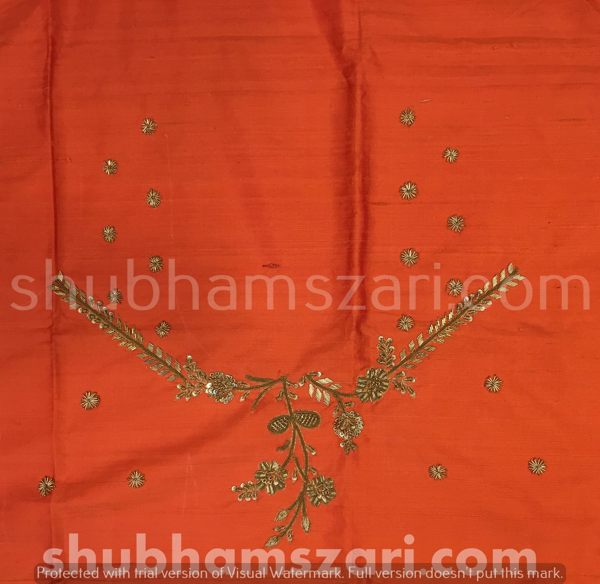 Orange Beautiful Hand zardozi Work /Tikki work Thread Jari And Hevy Handwork/ Sari Blouse /Saree Top/ For Women