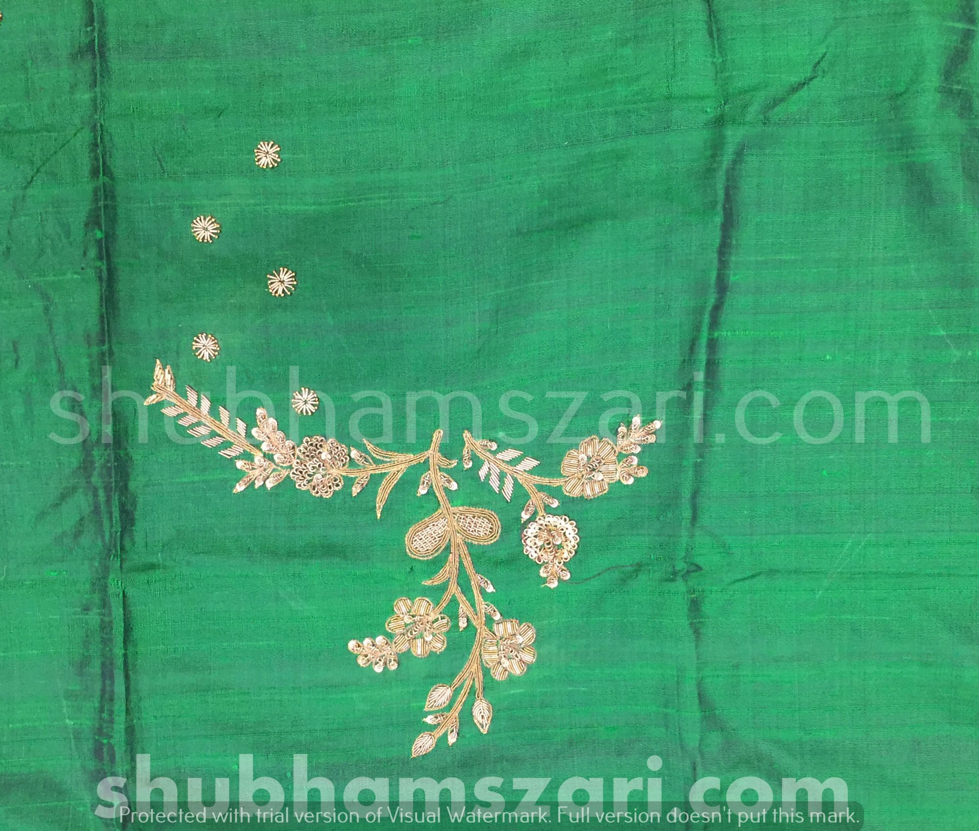 Bottle Green Beautiful Hand zardozi Work /Tikki work Thread Jari And Hevy Handwork/ Sari Blouse /Saree Top/ For Women