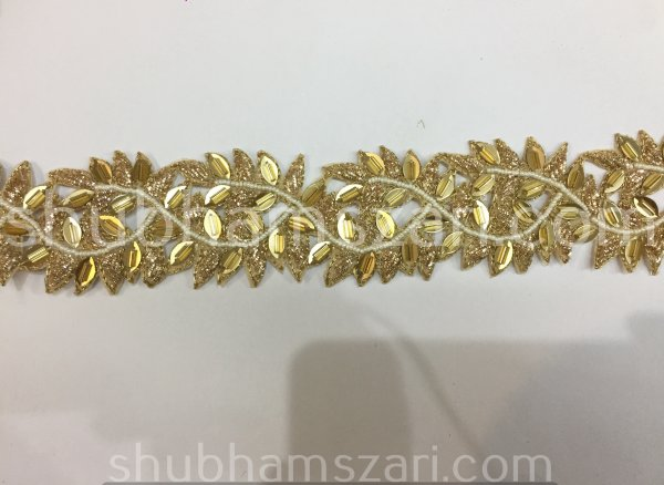 "2 to 2.5"" Golden Hand Embroidered, Zardosi Thread Bead Gold Sequin Cut Work Lace, Traditional Saree Border, Belly Dance Costume Sewing Trim"