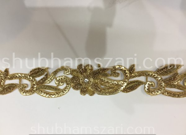 "1.5 to 2"" Golden Hand Embroidered, Zardosi Thread Bead Gold Sequin Cut Work Lace, Traditional Saree Border, Belly Dance Costume Sewing Trim"