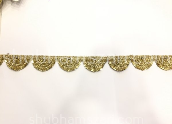 "1 to 1.5 "" Indian Wedding Gold Tikki Zardosi Saree Katdana Laces Fabric Sari Border Decorative Costume Dresses Ribbon Sewing"