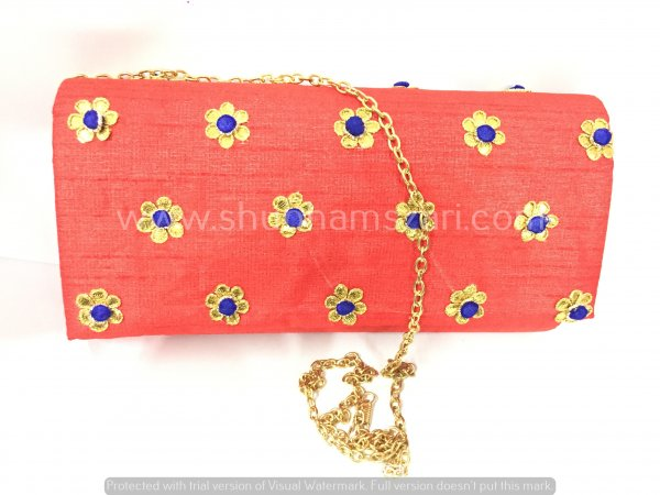 Red Hand Crafted Clutch Handbag With Sling Chain For Women|| Evening Bags|| Embroidery Handbag