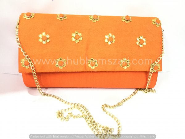 Orange Hand Crafted Clutch Handbag With Sling Chain For Women|| Evening Bags|| Embroidery Handbag